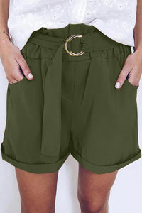 Women Green Casual Paper Waist Shorts