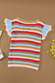 Cute Multi-color Striped Ruffle Short Sleeve Summer Knit Top