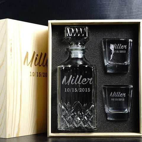 Engraved Groomsmen Gifts Whiskey Decanter Wood Box