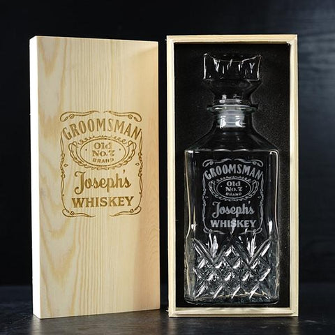 Personalized Groomsmen Gifts Whiskey Decanter Wood Box