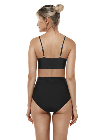 Reteron Women's High Waisted Bottom Bandeau Bikini Bathing Suits