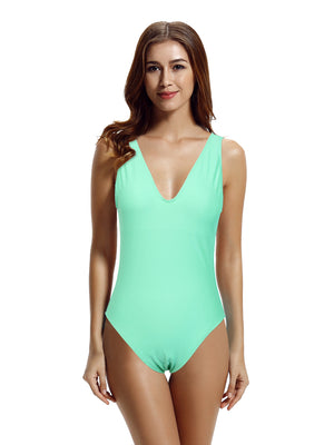 Zeraca Women's Deep V High Cut One Piece Swimsuit Bathing Suits - zeraca