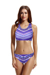 Zeraca Women's High Neck Crochet Racerback Bikini Bathing Suit - zeraca