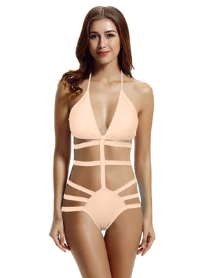 Zeraca Classic Strappy One Piece Monokini Swimsuit - zeraca