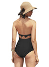Reteron Women's Backless Deep V Neckline Cutout One Piece Swimsuit Monokini