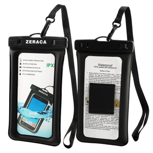 zeraca Universal Floating Waterproof iphone Case IPX8 TPU Dry Bag for iPhone 8/8plus/7/7plus/6s/6/6s plus Samsung galaxy s8/s7 LG V20 Google Pixel HTC10 - zeraca