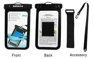 Zeraca Universal Waterproof Case IPX8 Phone Pounch Dry Bag for iPhone  Huawei Up to 6.0 Inches 2 Pack
