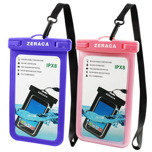 Zeraca Universal Waterproof Case IPX8 Phone Pounch Dry Bag for iPhone 8 8Plus 7 7Plus 6 6s Plus Samsung Google Pixel HTC LG Huawei Up To 6.0 Inches 2 PACK - zeraca