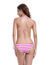 Zeraca Women's Pink Stripe Triangle Bikini Bathing Suits - zeraca