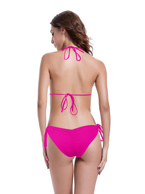 Zeraca Women's Ruched Butt Fringe Triangle Bikini Bathing suits - zeraca