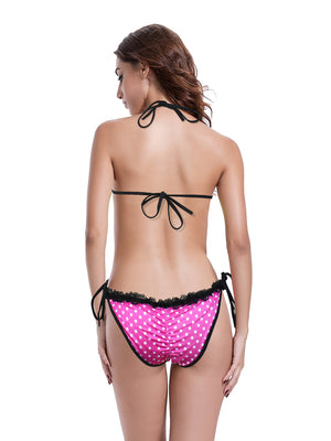 Zeraca Women's Lace Trim Ruched Butt Halter Triangle Bikini Bathing Suits - zeraca