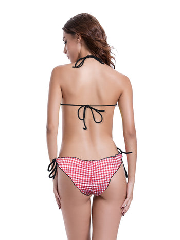 Zeraca Women's Plaid Ruffed Trim  Ruched Butt 2 Pieces Triangle Bikini Bathing Suits