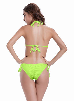 Zeraca Women's Two Pieces Halter Ruched Butt Triangle Bikini Bathing Suits - zeraca