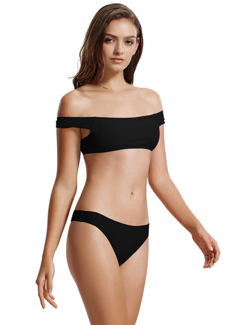 Zeraca Women's Brazilian Bottoms Off Shoulder Bikini Bathing Sutis