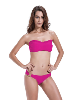 Zeraca Women's O-ring Bottom Ruffle Bandeau Bikini Set - zeraca