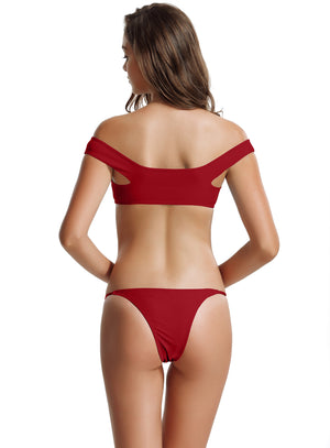Zeraca Women's Brazilian Bottom Lace Up Off Shoulder Bikini Bathing Suits - zeraca