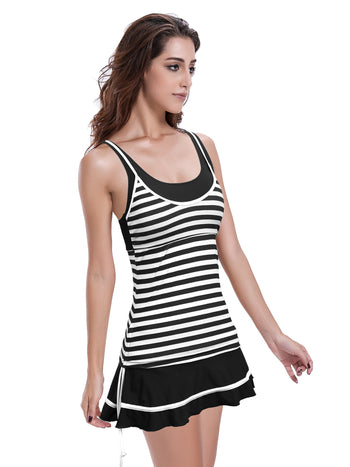 Zeraca Women's Stripe Bandeau One-Piece Dress Bathing Suit Swimsuit