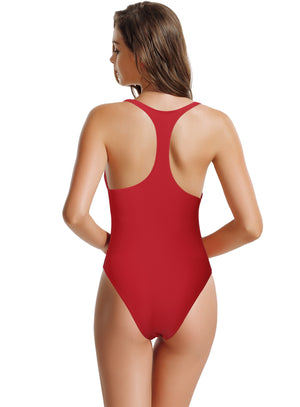 zeraca Women's Thick Straps Pro Athletic Racerback One Piece Swimsuit - zeraca