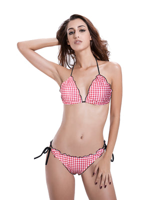 Zeraca Women's Plaid Ruffed Trim  Ruched Butt 2 Pieces Triangle Bikini Bathing Suits - zeraca