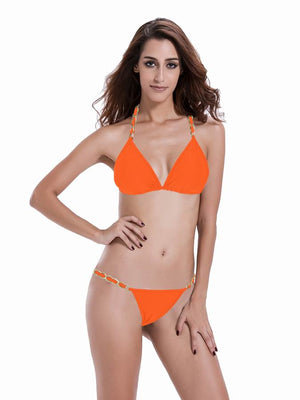 Zeraca Women's Chain Halter Triangle Bikini Bathing Suits - zeraca
