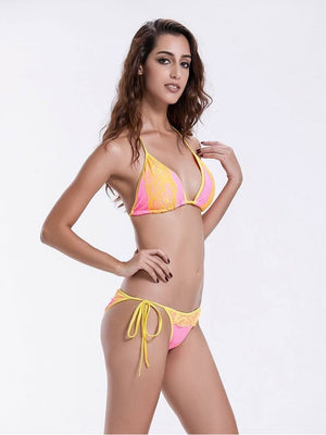 Zeraca Women's Lace Halter Triangle Bikini Bathing Suits - zeraca
