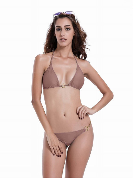 Zeraca Women's Chain Brazilian Bottom Triangle Bikini Bathing Suits