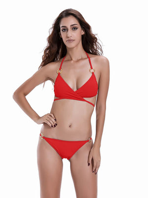Zeraca Women's 2 Pieces Tie Straps Triangle Bathing Suits - zeraca
