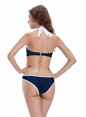 Zeraca Women's Colored Bow Knot Bandeau Bikini Bathing Suit - zeraca