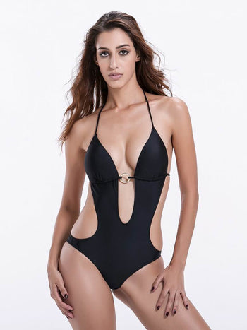 b07335e501896 ... Zeraca Women s Deep Plunge Low Waisted Triangle One Piece Swimsuit  Bathing Suit