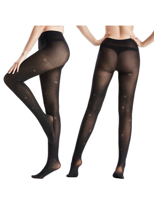 Zeraca Women's 80 Denier Sheer To Waist Opaque Footed Tights 3 Pairs - zeraca