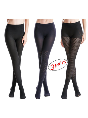 Zeraca Women's 120 Denier Sheer to Waist Pattern Footed OpaqueTights 3 Pack