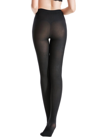 Zeraca Women's 120D Sheer To Waist Pattern Footed Opaque Tights 1 or 3 Pack