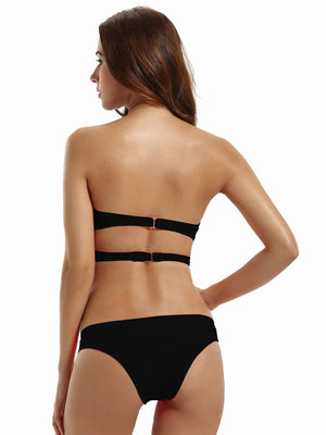 Zeraca Women's 2 Pieces Straps Push Up Bandeau Wrap Bathing Suits - zeraca
