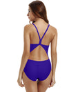 Zeraca Women's Athletic Thin Strap Back One Piece Swimsuit - zeraca