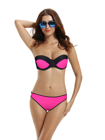 Zeraca Women's Color Block Hipster Push up Bikini Bathing Suits