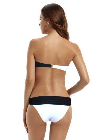 Zeraca Women's Color Block Push Up Bandeau Bikini Bathing Suits