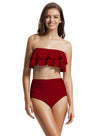 Zeraca Women's Ruffle Bandeau High Waisted Bikini Bathing Suits - zeraca