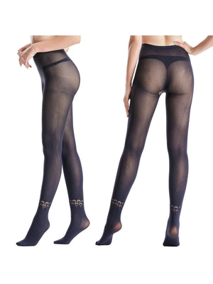 Zeraca Women's 80 D Sheer to Waist Pattern Footed Opaque Tights 1 or 3 Pack - zeraca