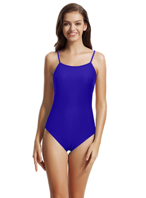 zeraca Women's Thin Strap V Back One Piece Swimsuits - zeraca