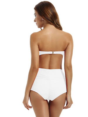 Zeraca Women's High Waisted Bandeau Bikini Carnival Swimsuit - zeraca