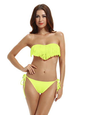 Zeraca Women's  Low Rise Bottom Fringe Halter BandeauTop Bikini Bathing suits - zeraca
