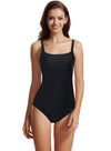 zeraca Women's U Back Thick Strap Shirred One Piece Swimsuit - zeraca