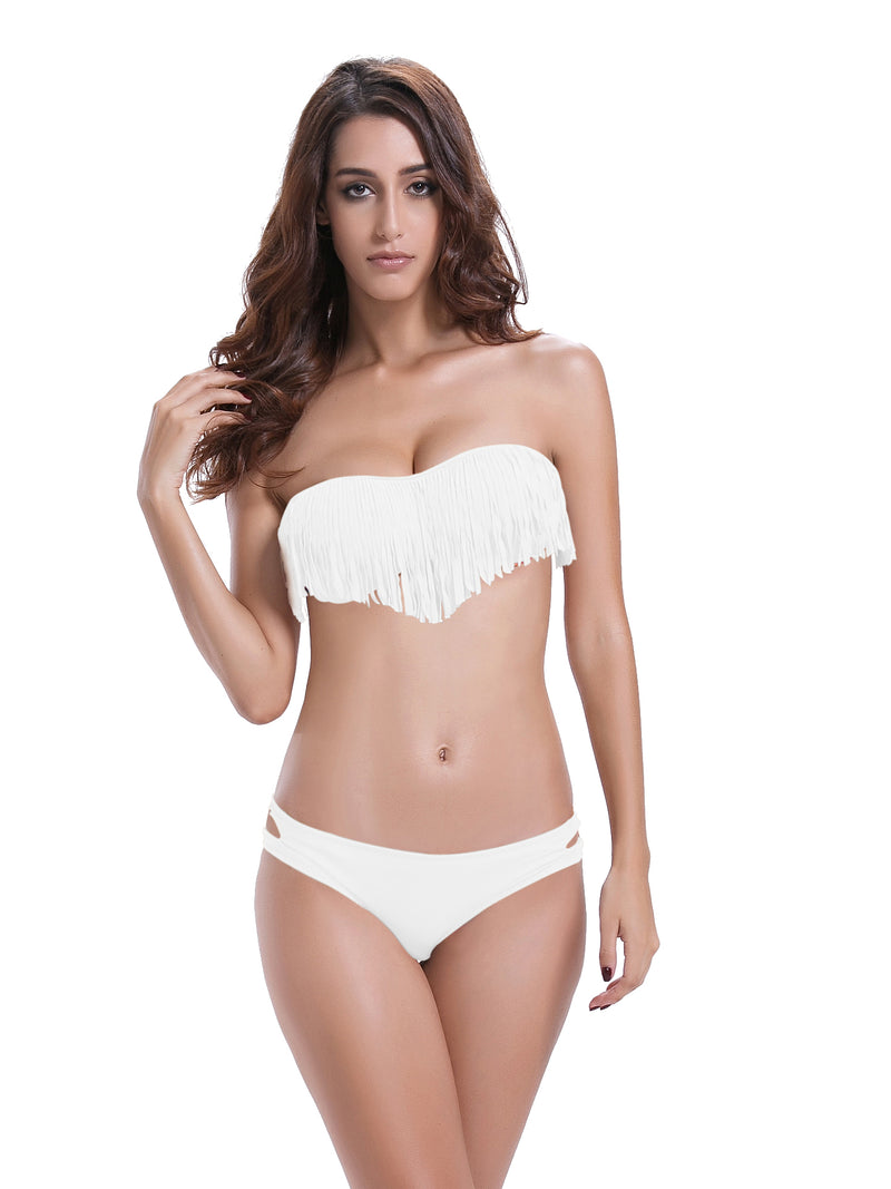 Zeraca Women's Cutout Bottom Fringe Halter BandeauTop Bikini Bathing suits - zeraca