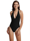 Zeraca Women's Deep V Neckline One Piece Swimsuit Bathing Suit - zeraca