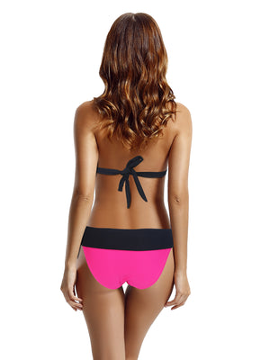 Zeraca Color Block Cheeky Bottom Halter Triangle Bikini Bathing Suits
