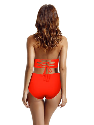 Zeraca Women's Vintage Retro Bandeau Push up High Waist Bikini Swimsuit Set - zeraca