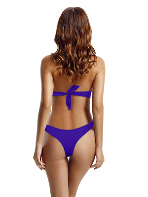 Zeraca Women's Push Up Bandeau Cheeky Bottoms Bikini Bathing Suits - zeraca
