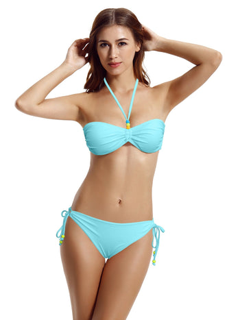 Zeraca Tie Side Bottom Ruched Bandeau Bikini Sets