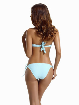 Zeraca Women's Tie Side Bottom Push up Bandeau Swimsuit Bikini Sets - zeraca