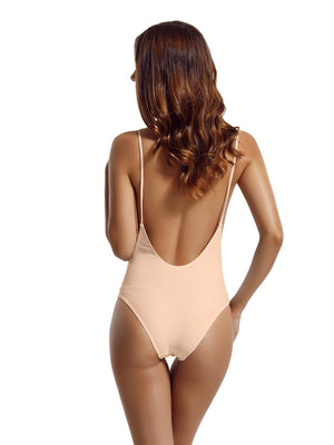 Zeraca High Cut Thin Strap One Piece Swimsuit - zeraca